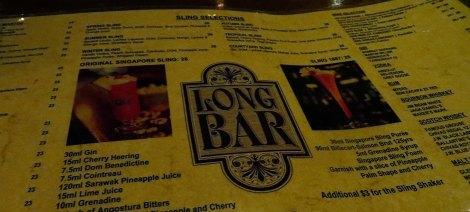 a menu of Singapore Slings
