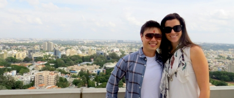 Eddie McDougall and Amy Peel on top of the world in Bangalore