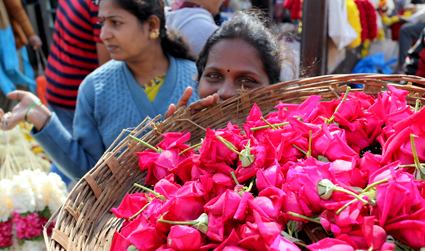Flower seller at Bangalore markets