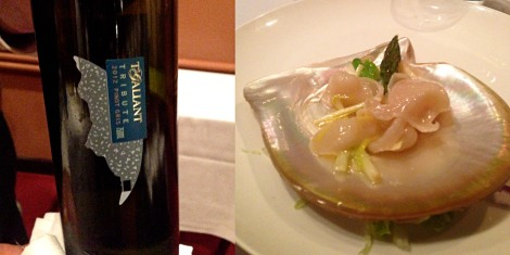Pearl meat and TGallant Pinot Gris divine